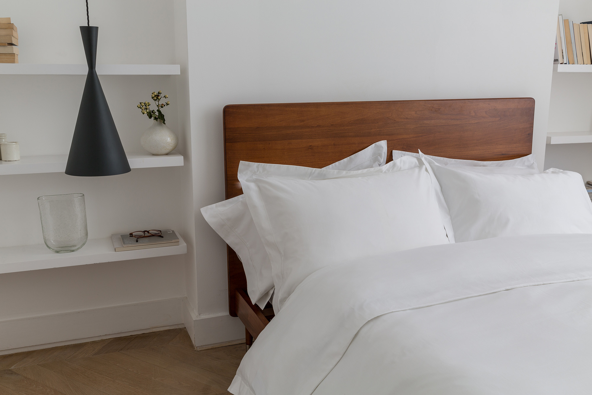 Soak&Sleep - Cranbrook plain wood bed from £525, 600TC Egyptian Cotton bed linen from £20.90
